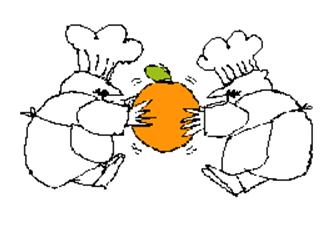 chefs fighting over orange