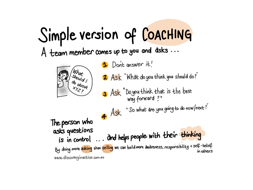 simple coaching when people pop their head in your door